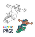 coloring page with skateboard player cartoon vector image vector image