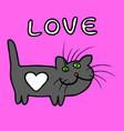 cute heart cat cartoon character vector image