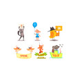 cute humanized animals set funny animals holding vector image vector image