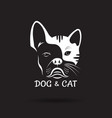 dog face bulldog and cat face design on a black vector image vector image