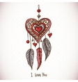 Doodle Greeting Card with Dream catcher and heart vector image vector image