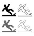 falling man icon set grey black color outline vector image