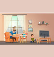 father sitting at home with children vector image vector image