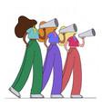 girls holding loudspeakers and speaks girls of vector image