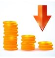 group of coins down vector image