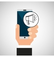 hand smartphone digital marketing network social vector image