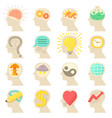 human head logos icons set cartoon style vector image