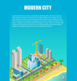 isometric city map with modern buildings vector image vector image