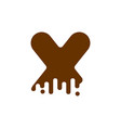 letter x chocolate font sweetness alphabet liquid vector image vector image