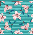 lilies flowers seamless pattern blooming pink vector image vector image