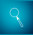 Magnifying glass icon isolated on blue background