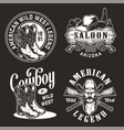 monochrome vintage wild west labels vector image vector image