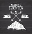 mountain expedition vintage label retro badge vector image vector image