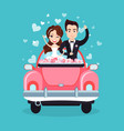 newlywed couple riding car waving hands vector image