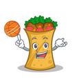 playing basketball kebab wrap character cartoon vector image vector image
