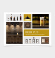 realistic pub elements set vector image