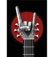 Rock poster with a metal hand and guitar Music vector image vector image