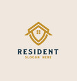 roof house with shield icon real estate logo vector image