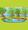 scene with two frogs in forest vector image vector image