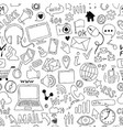 seamless pattern of hand drawn doodle cartoon vector image