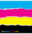 set lacerated bright papers in cmyk colors vector image