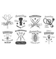 set logotype for barbershop in black and white vector image
