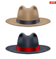 set of classic men hat vector image vector image