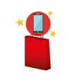 smartphone red bag gift star design vector image vector image