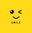 smile and winking happy smiling face funny wink vector image