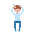 stressed employee man cartoon character isolated vector image