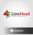 stylish lion head logo template vector image