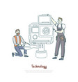 technicians working with tools lens changing vector image