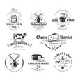 vintage cheese labels set vector image