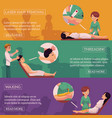 waxing threading and laser hair removal banners vector image vector image