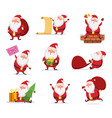 christmas characters of funny santa in dynamic vector image