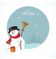 Christmas snowman on winter landscape background vector image
