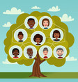big family tree cartoon concept with avatar icons vector image