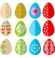 easter colored eggs design set in modern flat vector image