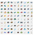 100 building icons set isometric 3d style vector image