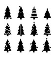 black silhouette christmas trees stylized simple vector image vector image