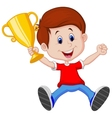Boy cartoon holding gold trophy vector image vector image
