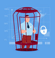 business man in cage prisoner financial problem vector image