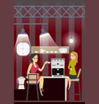business woman drink coffe rest in office kitchen vector image