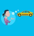 cartoon faceless woman calls a taxi phone vector image