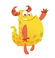 cartoon of an orange fat monster vector image vector image