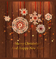 christmas card vintage paper snowflake on wood vector image vector image