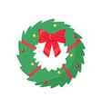 christmas coniferous spruce with ribbon vector image
