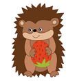 cute cartoon hedgehog with strawberry vector image vector image