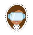 cute girl virtual reality glasses technology new vector image vector image