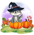 cute watercolor wolf puppy with witch hat sitting vector image